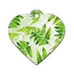 Fern Leaves Dog Tag Heart (Two Sides) Front