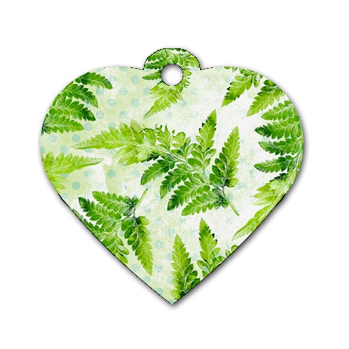 Fern Leaves Dog Tag Heart (Two Sides)
