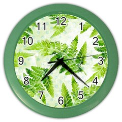 Fern Leaves Color Wall Clocks