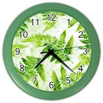Fern Leaves Color Wall Clocks Front