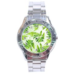 Fern Leaves Stainless Steel Analogue Watch