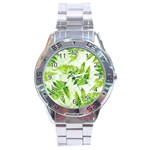 Fern Leaves Stainless Steel Analogue Watch Front