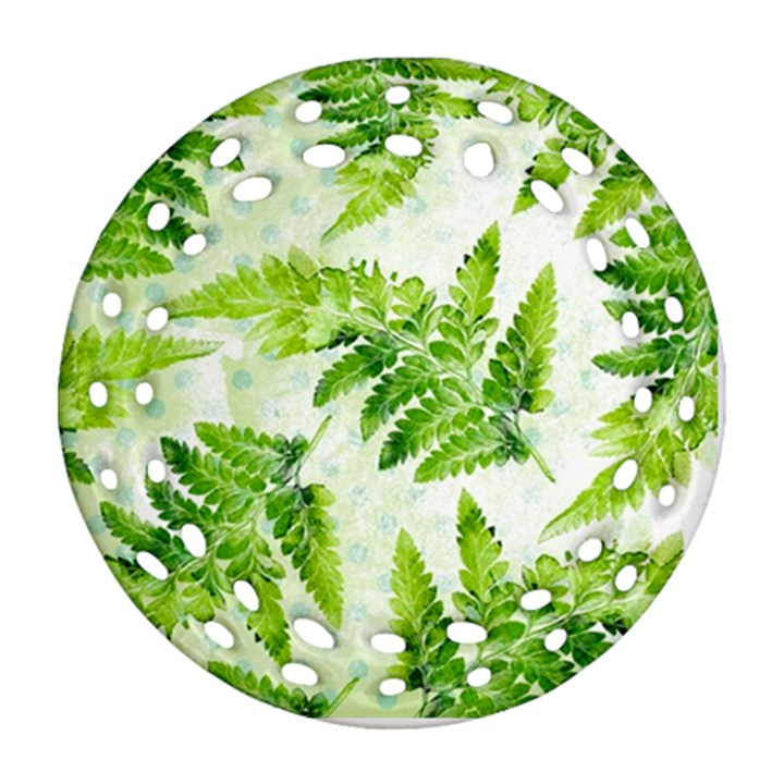 Fern Leaves Round Filigree Ornament (2Side)