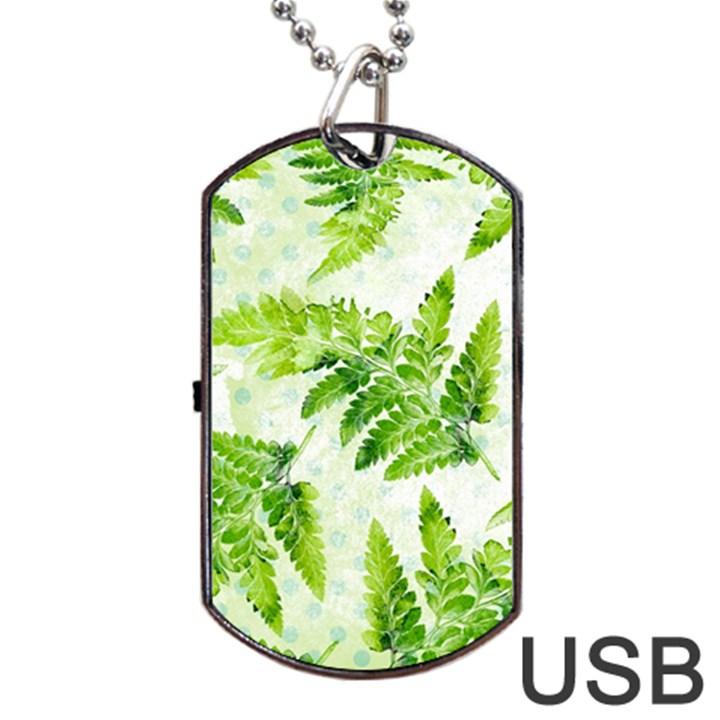 Fern Leaves Dog Tag USB Flash (One Side)