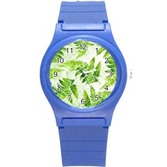 Fern Leaves Round Plastic Sport Watch (S)