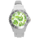 Fern Leaves Round Plastic Sport Watch (L) Front