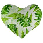 Fern Leaves Large 19  Premium Heart Shape Cushions Front