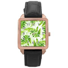 Fern Leaves Rose Gold Leather Watch