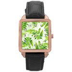 Fern Leaves Rose Gold Leather Watch  Front