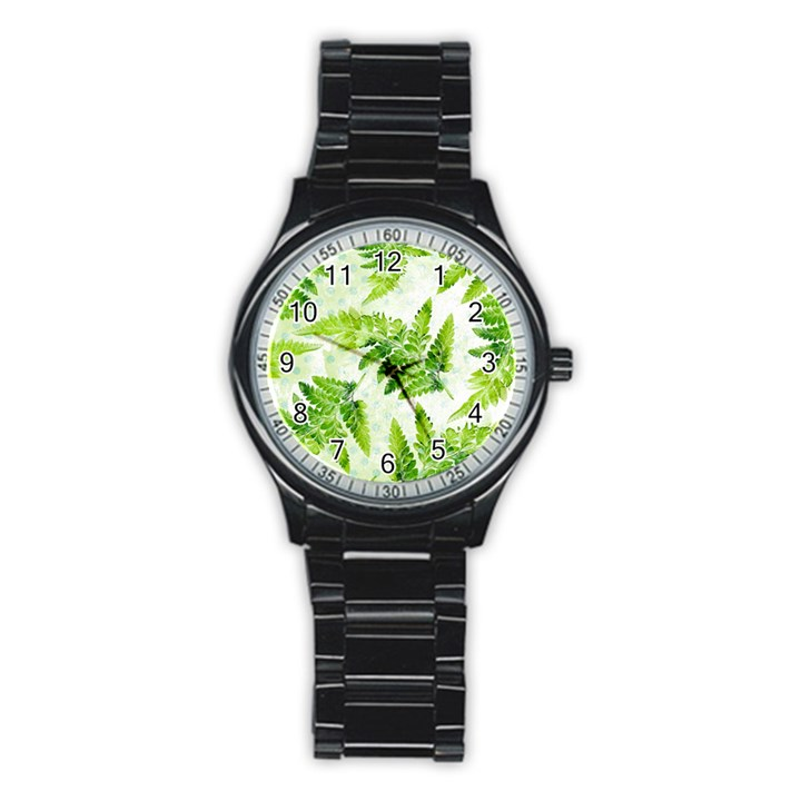 Fern Leaves Stainless Steel Round Watch