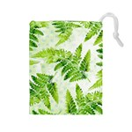 Fern Leaves Drawstring Pouches (Large)  Front
