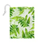Fern Leaves Drawstring Pouches (Large)  Back