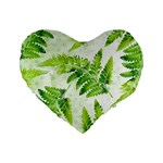 Fern Leaves Standard 16  Premium Flano Heart Shape Cushions Front