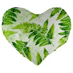 Fern Leaves Large 19  Premium Flano Heart Shape Cushions Front