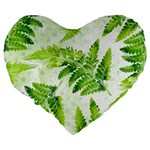 Fern Leaves Large 19  Premium Flano Heart Shape Cushions Back