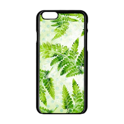Fern Leaves Apple iPhone 6/6S Black Enamel Case