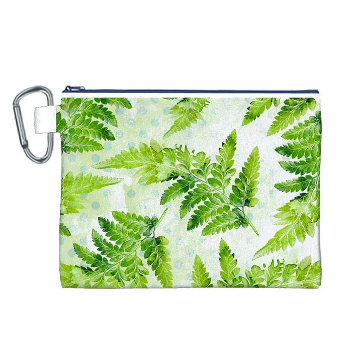 Fern Leaves Canvas Cosmetic Bag (L)