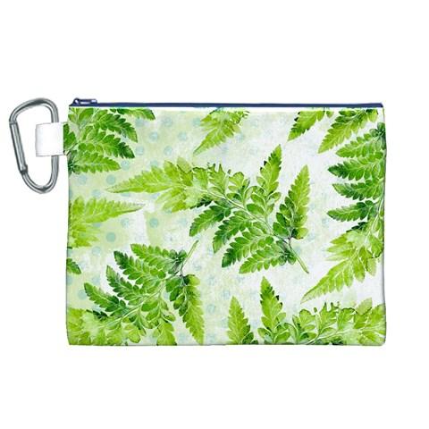 Fern Leaves Canvas Cosmetic Bag (XL)