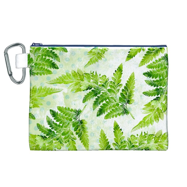 Fern Leaves Canvas Cosmetic Bag (XL)