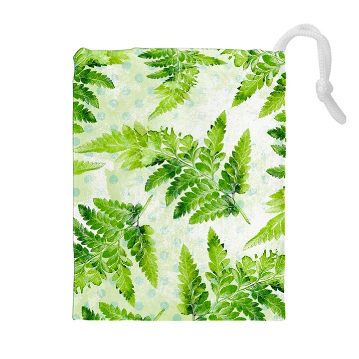 Fern Leaves Drawstring Pouches (Extra Large)