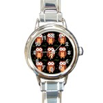 Halloween brown owls  Round Italian Charm Watch Front