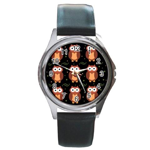 Halloween brown owls  Round Metal Watch