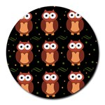 Halloween brown owls  Round Mousepads Front