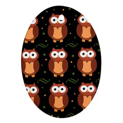 Halloween brown owls  Ornament (Oval)