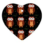 Halloween brown owls  Ornament (Heart)  Front
