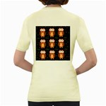 Halloween brown owls  Women s Yellow T-Shirt Back