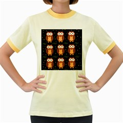 Halloween Brown Owls  Women s Fitted Ringer T Shirts