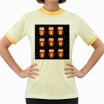 Halloween brown owls  Women s Fitted Ringer T-Shirts Front