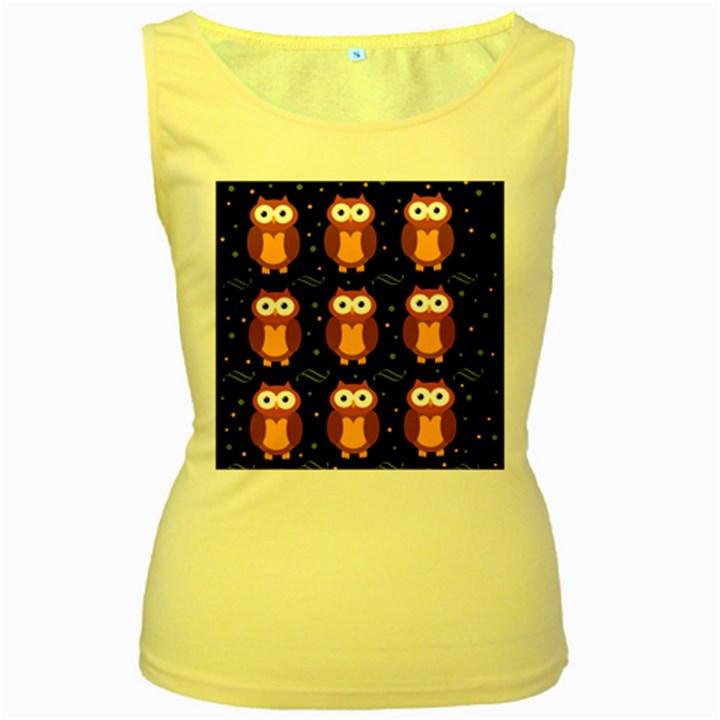 Halloween brown owls  Women s Yellow Tank Top