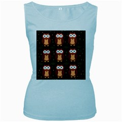 Halloween brown owls  Women s Baby Blue Tank Top