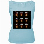Halloween brown owls  Women s Baby Blue Tank Top Front