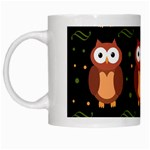 Halloween brown owls  White Mugs Left