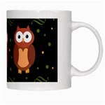 Halloween brown owls  White Mugs Right