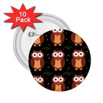 Halloween brown owls  2.25  Buttons (10 pack)  Front