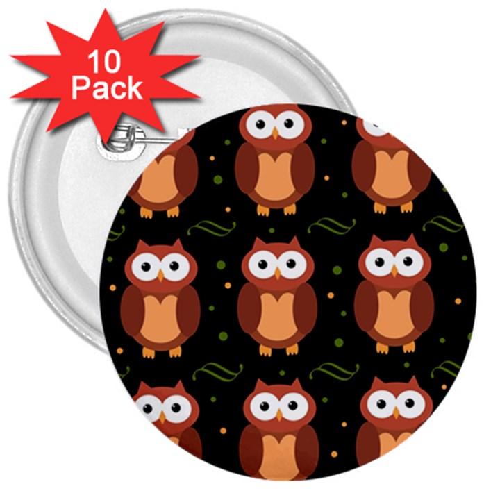 Halloween brown owls  3  Buttons (10 pack)