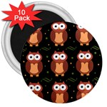 Halloween brown owls  3  Magnets (10 pack)  Front