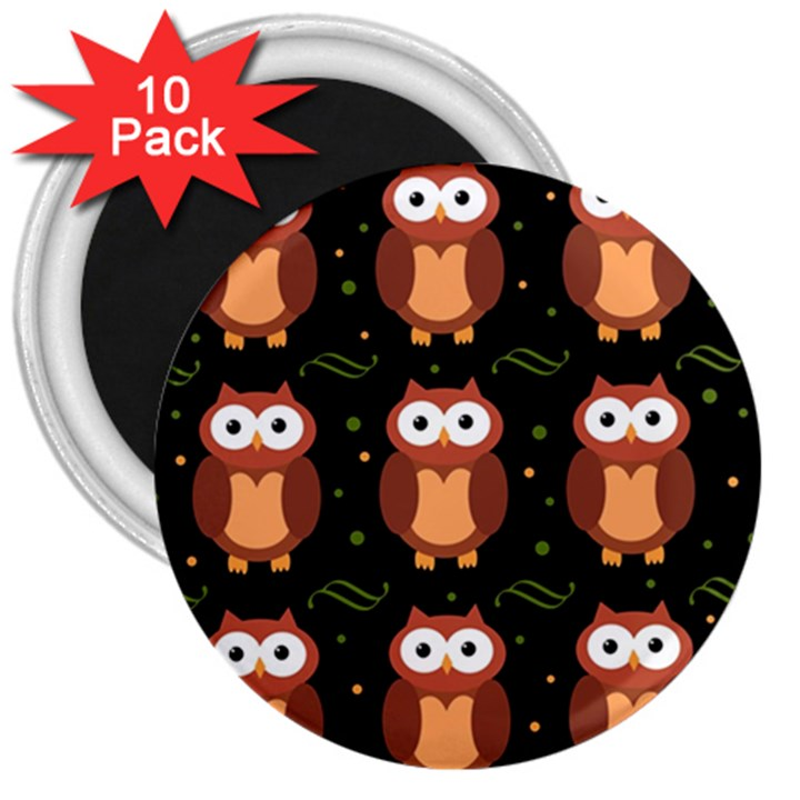Halloween brown owls  3  Magnets (10 pack)