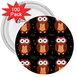 Halloween brown owls  3  Buttons (100 pack)  Front