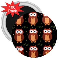 Halloween Brown Owls  3  Magnets (100 Pack)