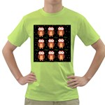Halloween brown owls  Green T-Shirt Front
