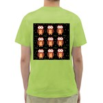 Halloween brown owls  Green T-Shirt Back