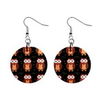 Halloween brown owls  Mini Button Earrings Front