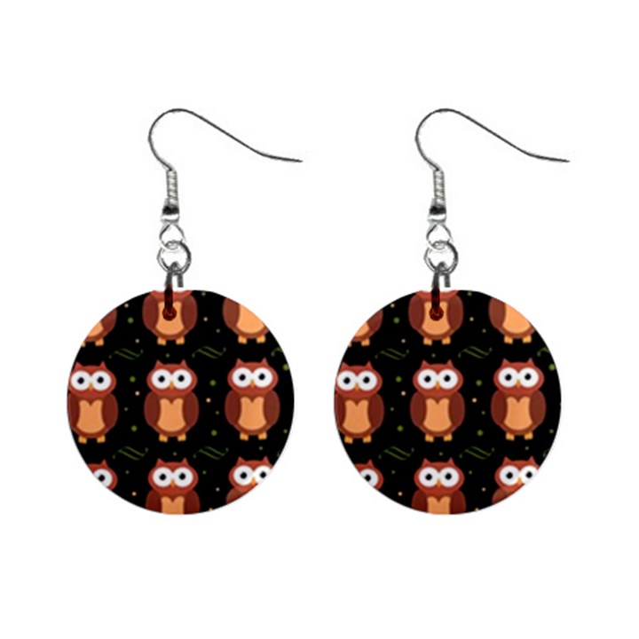 Halloween brown owls  Mini Button Earrings