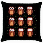 Halloween brown owls  Throw Pillow Case (Black) Front