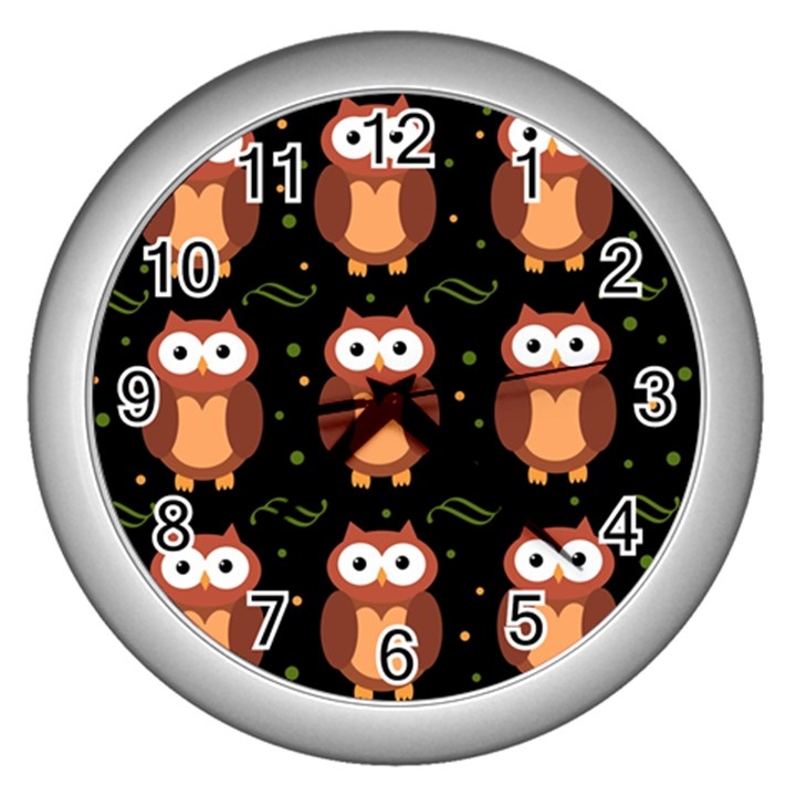 Halloween brown owls  Wall Clocks (Silver)