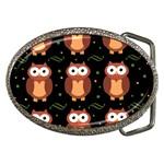 Halloween brown owls  Belt Buckles Front